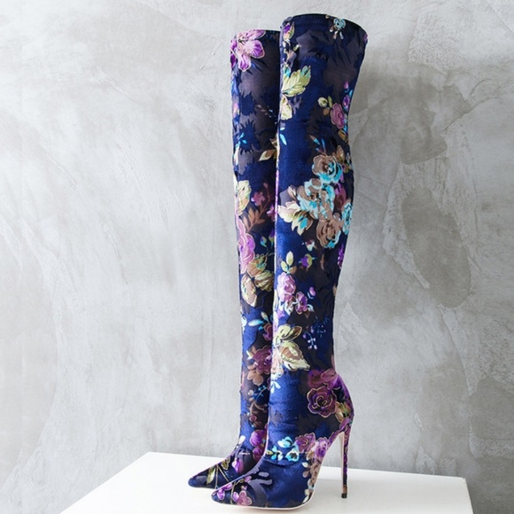 Multi Colored Thigh High Boots